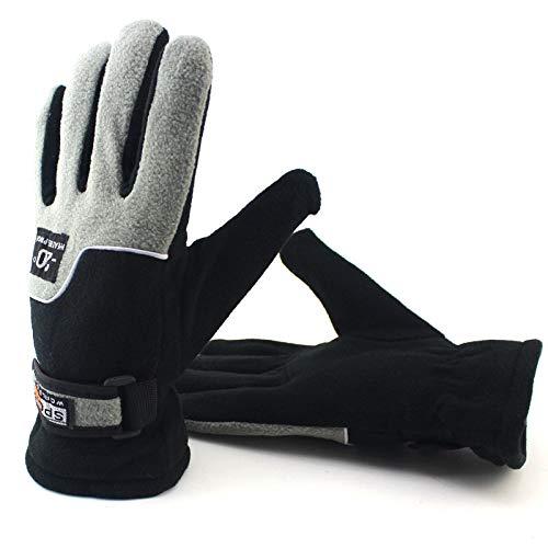 Hanggg Guantes de moto para hombre, guantes de exterior para hombre y mujer, forro polar grueso y resistente al viento, frío, cálido, todos los dedos