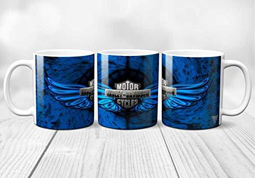 Taza de cerámica de Harley Davidson, diseño de águila, original y resistente, impresa en Francia