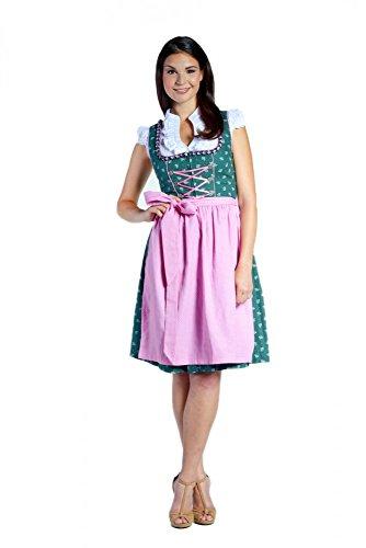 donnerlittchen! Mini-Dirndl Stella Grün/Pink inklusive Bluse und Schürze Gr. 32-46 Tracht, Größe:42