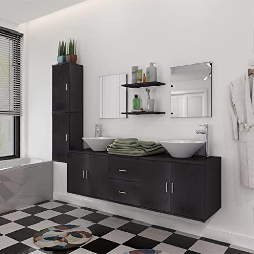 Conjunto de Muebles de baño y Lavabo 9 Piezas negroMobiliario Conjuntos de Muebles Muebles de baño
