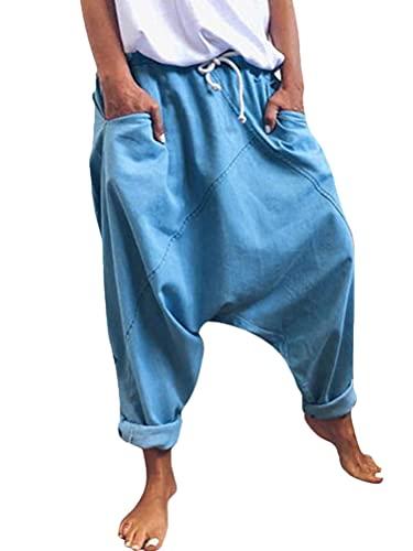 Onsoyours Damen Haremshose Aladinhose Yoga Pumphose Baggy Ballon Yoga Hose Sweatpants Jogginghose Hippie Hose Haremshose Mit Tiefem Schritt Z2 Blau M