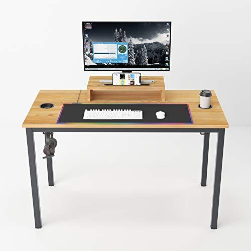 sogesfurniture Gaming Tisch - ergonomischer Schreibtisch, Computertisch Arbeitstisch Bürotisch mit Mausunterlage, Getränkehalter und Kopfhörerhaken, 120x60x75cm, Teak & Schwarz, BHEU-AC14BB-Pro