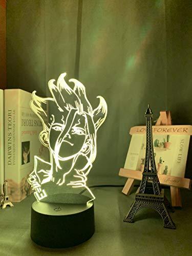 Luz de noche 3D Anime Dr Stone Figura Mesa para niños Decoración de dormitorio infantil Noche Manga Acrílico Led-16_Color_With_Remote