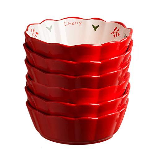 AWYGHJ Ramekins de Porcelana de 6 onzas, Mini Platos de Quiche estriados para Tarta Redonda, Porcelana esmaltada, Apto para microondas y lavavajillas, Apto para Horno, para Creme Brulee, Juego de 6