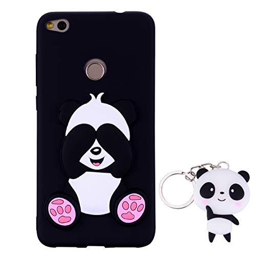 HopMore Panda Funda para Huawei P8 Lite 2017 Silicona con Diseño 3D Divertidas Carcasa TPU Ultrafina Case Antigolpes Caso Protección Cover Dibujos Animados Gracioso con Llavero - Negro