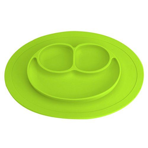 Romote Niños Plato Platos de Silicona Alimentaria de Buena Calidad para Bebé y Niño Vajilla Placa Antideslizante con Compartimientos
