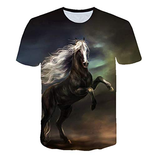 Animal Horse 3D Printing Harajuku T-Shirt Kids Fashion Casual Short Sleeve Tops Streetwear Picture color8 5 ANS