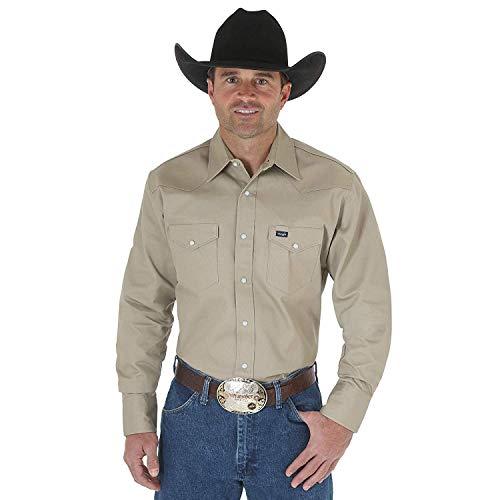 Wrangler Men's Authentic Cowboy Cut Work Western Long-Sleeve Firm Finish Shirt, Khaki, X-Large