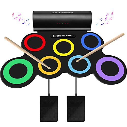 SUNKOO Electronic Drum Set for Kids, Adult Beginner Pro MIDI Drum Kit, Roll Up...