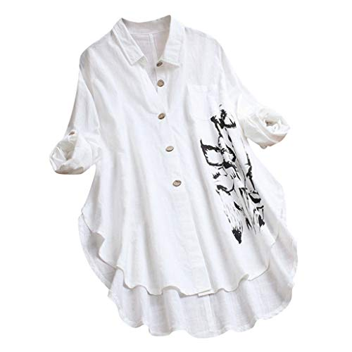 MRULIC Damen Fledermaus Hemd Lässig Locker Top Dünnschnitt Bluse Frühling T-Shirt Leinenbluse Freundin(F2-Weiß,4XL)