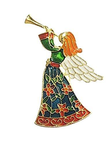 Dames Emaille Gekleurde Kerst Engel Trompet Broche Pin