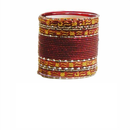 Indische Bangles 24 Armreifen Mahive rot Gold 6,5 cm mit Bindis Bollywood Sari Schmuck
