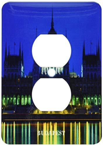 Einzelne Duplex-Steckdosen-Wandplatte, Steckdosen-Wandplatte, Budapest Ungarn bei Nite 2 Steckdosen-Abdeckung