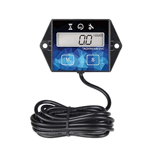 Jayron JR-HM011F Self Powered Digital Tachometer Hour Meter,Resettable TOT Hours,Countdown Programmable Maintenance Reminder,Shutdown,Battery Replaceable,Use for Lawn Mower Outdoor Power Equipment