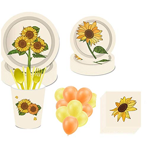 113PCS Sunflower Disposable Tableware, YimaiX Sunflower Party Supplies with Sunflower Paper Plates Cups Napkins Straws Balloons for Sunflower Baby Shower Bridal Shower,Birthday Party