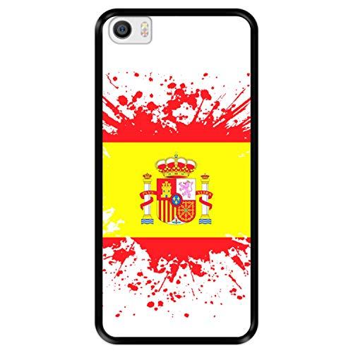 Funda Negra para [ Xiaomi Mi5 - Mi 5 ] diseño [ Ilustración 1, Bandera de España ] Carcasa Silicona Flexible TPU