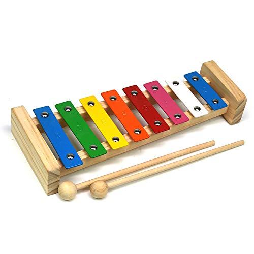 GYBBER&MUMU Colorful 8 Tones Hand Knock Musical Instrument Xylophone with 2 Wooden Mallets -- Inspire Children's Talent for Music (Colorful_#2)