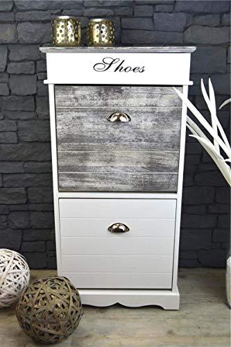 Livitat® Schuhschrank Schuhkipper 98 x 50 cm Schuhregal Landhaus Shabby Chic Vintage Weiß Grau LV1054