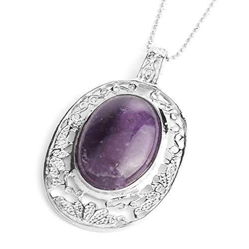 YOUHU Crystal Pendant Necklace,7 Chakra Crystal Necklaces Silver Hollow Filigree Natural Rose Quartz Gem Oval Pendant Charm Spiritual Jewelry Unisex Birthday Gift,Amethyst