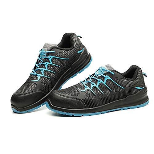 Zapatos de seguridad Transpirable de acero del dedo del pie Caps Zapatos de seguridad for las mujeres de los hombres, SRC Anti Slip Calzado de trabajo antiestático resistente a los pinchazos Calzado d