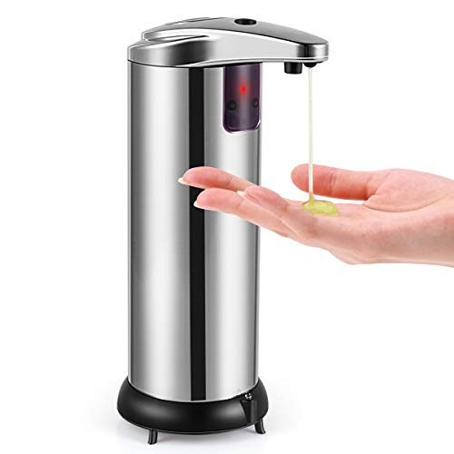HAYI Soap Dispenser, Touchless Automatic Soap Dispenser Stainless Steel Infrared Sensor, Adjustable Hands-Free Soap Dispenser Suitable for Bathroom Kitchen