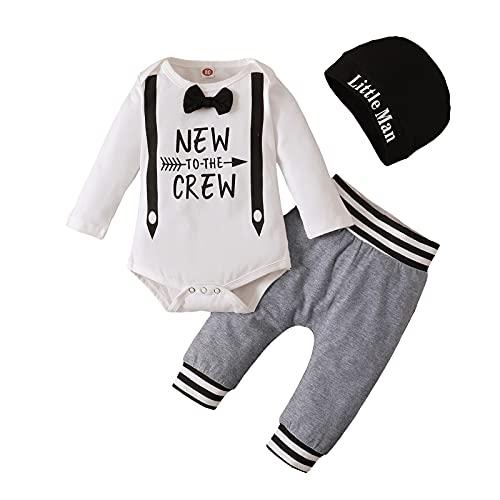 U-Sinmule Neugeborenes Baby Jungen Gentleman Kleidung Set Briefbedruckter Strampler + Hose + Hut Kleinkind Jungen Outfits Set, Krawatte, 3-6 Monate