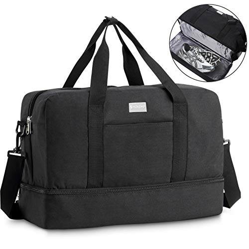 HOKEMP Gym Bag For Women Men Sport Duffel Bag with Shoes Compartment, Swim Bag Travel Tote Luggage Shoulder Bag (Black)