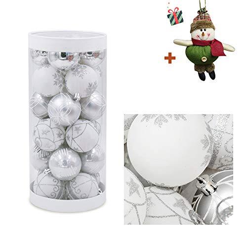 Morbuy Bolas de Navidad 6 cm Colgante de Pared Bolas de árbol de Navidad Adorno de Pared, Árbol Decorativas Boda de Fiesta Suministro Hogar Decoraciones para Festivales (24pc,Blanco)