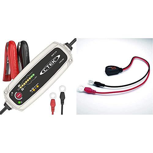 CTEK MXS 5.0 Batterieladegerät Mit Automatischer Temperaturkompensation, 12V 5.0 Amp & Comfort Connect Direct Connect Adapter (M8 Muttern), Ideal Für Schwer Erreichbare Batterien, 40cm Kabellänge