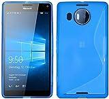 ENERGMiX Silikon Hülle kompatibel mit Microsoft Lumia 950 XL Schutzhülle Hülle Cover Gel in Blau