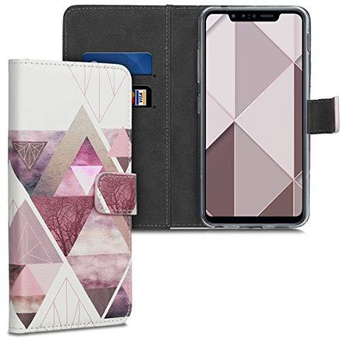 kwmobile Wallet Hülle kompatibel mit LG G8s ThinQ - Hülle mit Ständer Kartenfächer Glory Dreieck Muster Rosa Rosegold Weiß