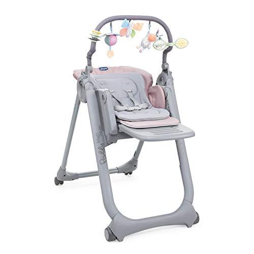 Chicco Polly Magic Relax Chaise Haute Évolutive et Pliable pour Bébé à 4 Roues, Enfants de la Naissance à 3 ans (15 kg), Inclinable en Transat, avec Coussin Réducteur et Barre de Jeux - paradise pink