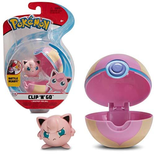 Pokémon Clip 'N' Go Jigglypuff Pummeluff & Pokéball, Enthält 1x 5cm Figur & 1x Poké Ball, Neue Welle 2021, Offiziell Lizensiert