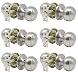 satin door knobs - Probrico Passage Door Knobs Satin Nickel Interior Keyless Round Door Knobs Hall/Closet Handles, 6 Pack
