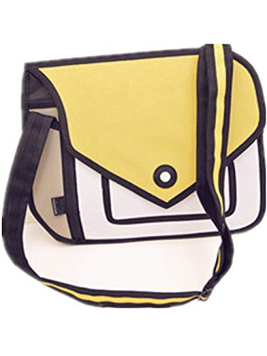 Xugq66 3D Style 2D Drawing Cartoon Handbag Shoulder Canvas Messenger Bag Bow Handbags (Yellow)