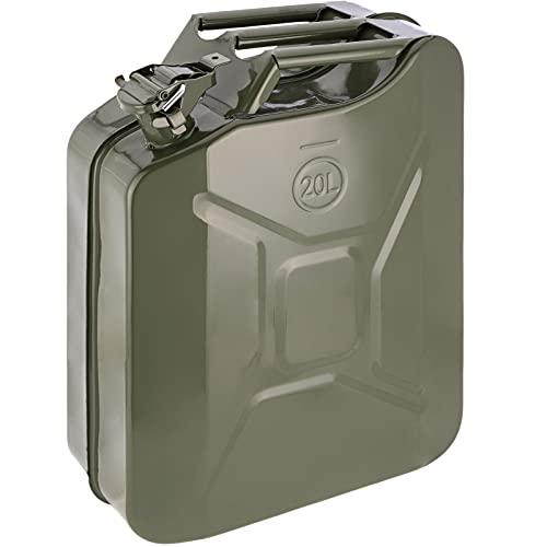 PrimeMatik - Bidón metálico para Gasolina o diésel 20 L Verde