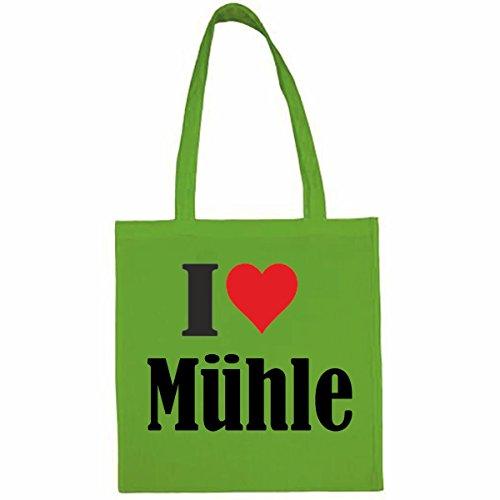 Tasche I Love Mühle Größe 38x42 Farbe Grün Druck Schwarz