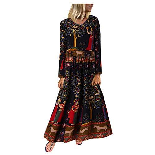 Aniywn Plus Size Women Vintage V Neck Long Dress Floral Printed Long Sleeve Patchwork Party Maxi Dress(Black M,3XL)