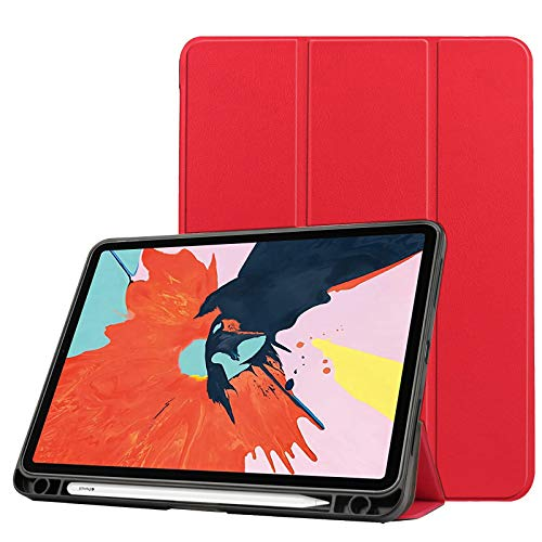 Case for New Ipad Air 4 10.9 Inch 2020 (4Th Generation) with Pencil Holder, Soft TPU Back And Trifold Smart Protective Cover with Auto Sleep/Wake,Red