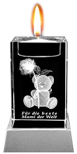 Kaltner Präsente Stimmungslicht - EIN ganz besonderes Geschenk: LED Kerze/Kristall Glasblock / 3D-Laser-Gravur Teelichthalter Teddy Rose Beste Mami der Welt