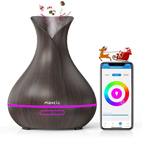 Maxcio WiFi Difusor Aromaterapia, Humidificador Ultrasónico Aceites Esenciales 400ml 7-Color LED 2 Modos de Nieble Controlable por Vía WiFi y Voz Compatible con Amazon Alexa y Google Home