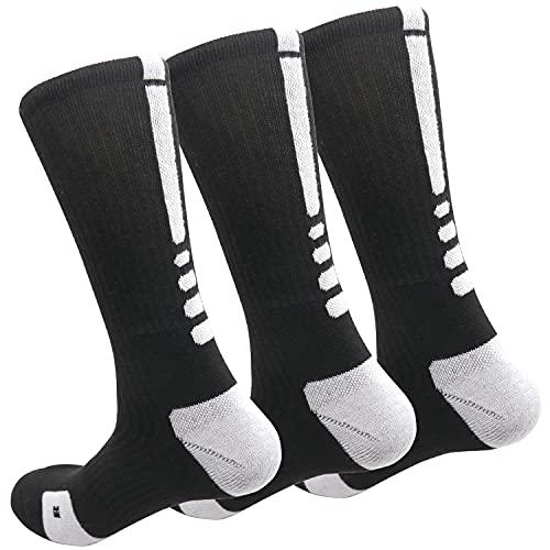 MUMUBREAL Men's Cushioned Compression Sport Socks, Black, Sizes 6-13 (3pack)