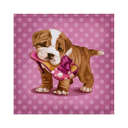 Posavasos con diseño de bulldog inglés y zapatero para bebidas, reutilizable, cuadrado de cuero con almohadilla de respaldo para decoración del hogar, regalos para hombres y mujeres