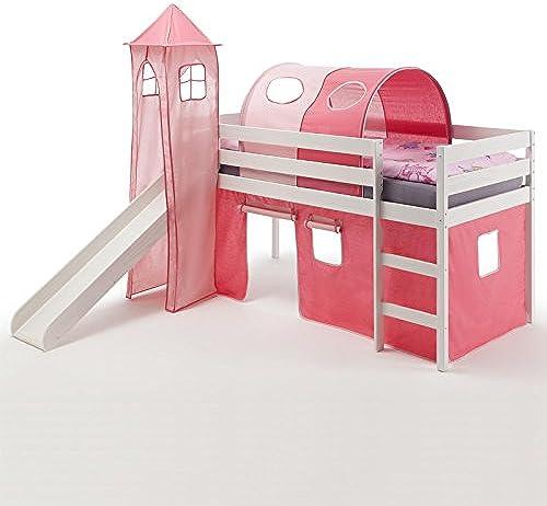 IDIMEX Spielbett Rutschbett Hochbett mit Rutsche Benny, Kiefer massiv Weiß lackiert 90x200 cm, mit Rutsche Vorhang Turm und Tunnel in Rosa Rosa