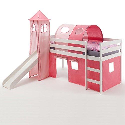IDIMEX Spielbett Rutschbett Hochbett mit Rutsche Benny, Kiefer massiv weiß lackiert 90x200 cm, mit Rutsche Vorhang Turm und Tunnel in pink/rosa