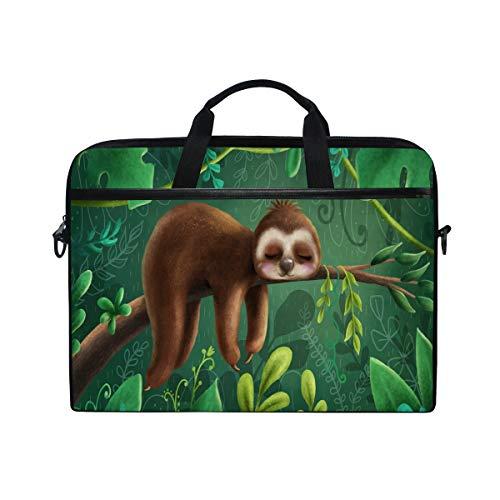 Linomo Laptoptasche mit tropischem Dschungeltier niedliches Faultier Laptop Aktentasche Messenger Sleeve Sleeve Sleeve Sleeve Laptoptasche fur Frauen Herren Buro Kinder Schule