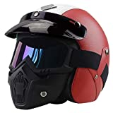 Oldtimer Motorradhelm Vollvisierhelm Maske Helm, MTB Erwachsener Motorrad Motocross Helmset Motorrad...