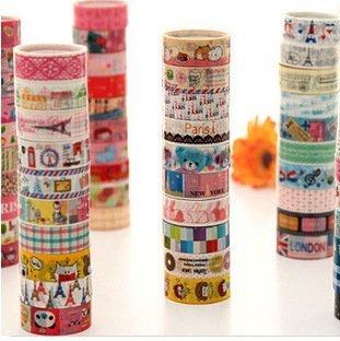 Lyanther 10 Kawaii 5M Tapes Mix Designs Cinta Adhesiva de Dibujos Animados para Scrapbooking/Craft