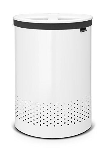 Brabantia - Cesto para Ropa, 55 l,Selector, Tapa de plástico Blanca, Cuerpo Blanco