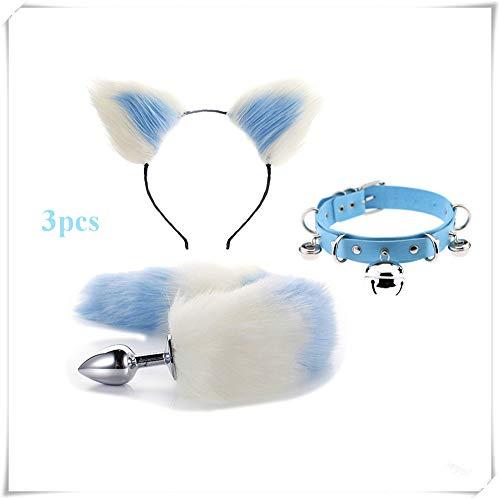 ieyol Fashion Dress Up Pretend Game Halloween Cosplay Party Costume Set Fox/Dog Tail B-¨¹tt an-?l Pl-¨´g T-?-ys + Plush Ears Cat Ladies Headband+bell choker(white&blue2)
